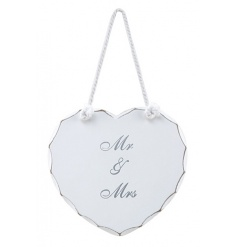 Heart shaped white wooden sign with Mr and Mrs text