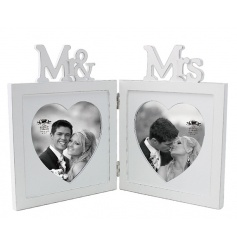 A classic white wooden folding frame with Mr & Mrs cutout