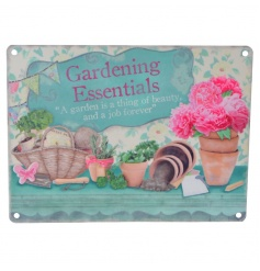 A stylish gardening essentials vintage metal sign with option to hang or fasten to the wall.