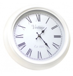 A stylish cream vintage clock with chunky frame. Compliments many different interior styles.
