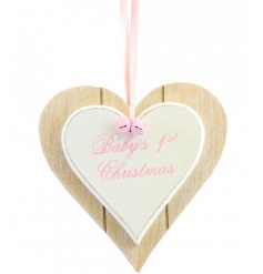Wooden double heart sign with pink lettering and bells