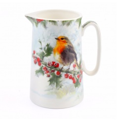 Printed ceramic jug with robin design