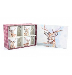Set of 4 Ceramic Mugs with a stunning watercolour stag print and fine quality gift box.