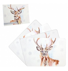 Set of 4 placemats with a painted winter stage