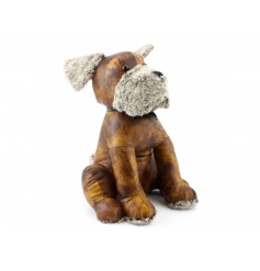 Rustic faux leather doorstop in a doggy design