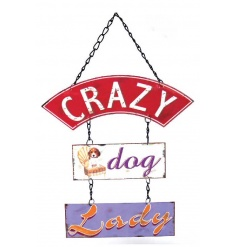 A hanging metal plaque with humorous text