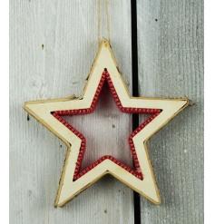 Birch Star with Red Felt