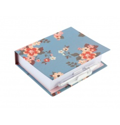 Thick floral memo pad with attachable pen