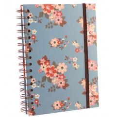 Floral patterned spiral notebook