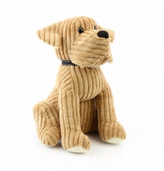 Beige Corduroy Cuddly Dog Doorstop