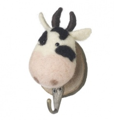 Cute woollen and felt cow hook on a wooden mount
