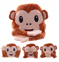A unique and quirky emoticons monkey cushion with moveable arms.