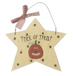 wooden trick or treat hanging star