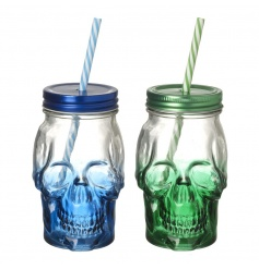 Skull Jars With Straw