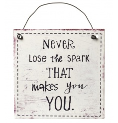 'Never Lose The Spark' metal hanging sign