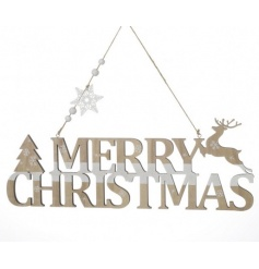 hanging wooden merry christmas decoration