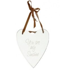 Glass mirrored heart with wording