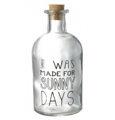 I Was Made For Sunny Days glass bottle with cork top. A chic storage bottle and decorative accessory.