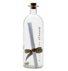 A magical message in a bottle complete with gold ribbon and bells. A chic decorative item.