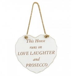 White hanging heart plaque from the heart sentiment collection