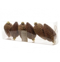 A pack of 6 bronze coloured pinecone decorations with festive sparkle.