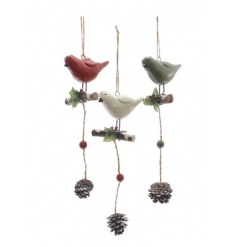 A mix of charming festive birds in red, green and white colours each with a carved effect.