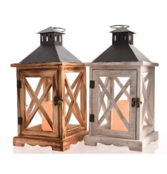 A mix of 2 wooden lanterns with LED light included. An attractive lantern for the home.