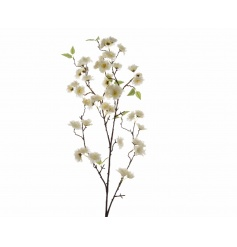 A whimsical silk Cherry Blossom branch in white. A stunning home accessory and chic decorative item.