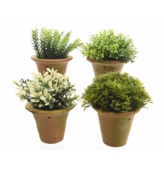 An assortment of 4 artificial plants set within terracotta pots.