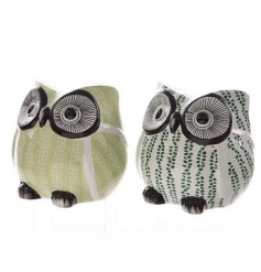 Decorative owl ornaments in fresh Spring green colours. An attractive home accessory and gift item.