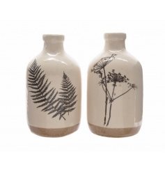 An assortment of 2 stoneware bottles, each with a nature design. Attractive home accessories.