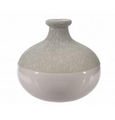 A decorative ceramic vase with a stone finish and white glazed base.