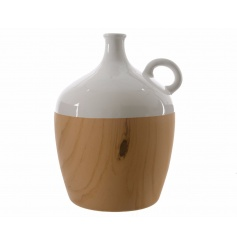 A stylish decorative bottle with a wooden effect wrap. The perfect way to make a statement in the home this season.