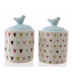 Add a pretty finish to your home with these multi-coloured heart and polka dot storage boxes.