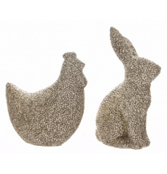 An assortment of 2 champagne glitter ornaments in Bunny and Chicken designs.