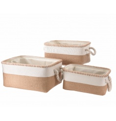 A set of 3 natural woven jute baskets each with rope handles. A stylish storage item for the home.