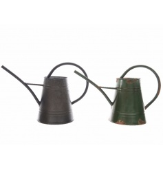 An assortment of 2 rustic style watering cans with large handles and spout. The assortment includes black and green