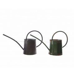A mix of 2 black and green iron watering cans, each with a long spout and curved handle.