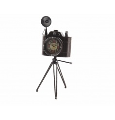 An antique style iron camera with tripod with a clock within the lense. A unique gift item and home accessory.