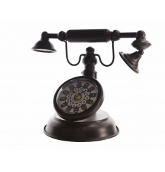 A vintage style iron telephone ornament with clock. A unique gift item and home accessory.