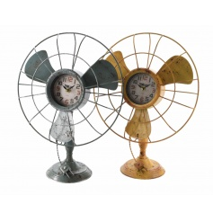An assortment of 2 antique style fans with clock in rustic green and yellow colours.