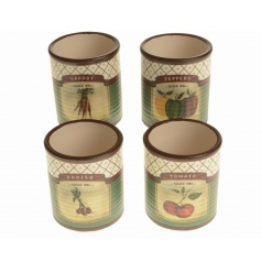An assortment of 4 rustic ceramic planters in carrot, tomato, radish and pepper designs.