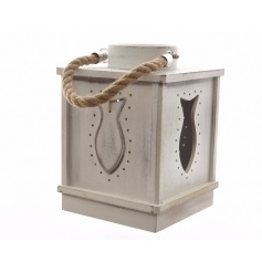 A charming chunky wooden lantern with a fish design and grey washed finish. Complete with a coastal inspired chunky rope