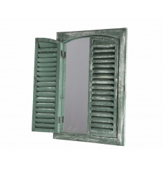 Add a stylish touch to the home or garden with this rustic style mirror with shutters.