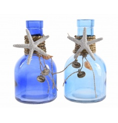 An assortment of 2 blue coloured glass bottles finished with chunky rope and shells.