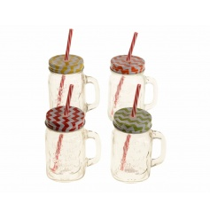 An assortment of 4 drinking jars with geometric coloured lids and straws.