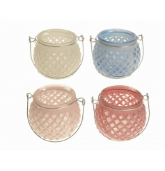 An assortment of 4 pastel coloured glass t-light lanterns with wire handle.