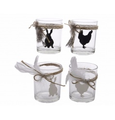 An assortment of glass t-light holders with animal designs, jute string and feathers.