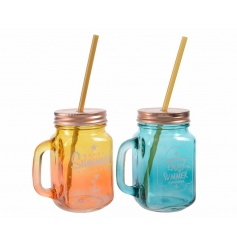 An assortment of 2 coral and aqua summer time drinking jars with straw.
