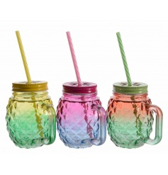 An assortment of 3 glass drinking jars with straw in fuchsia, green and yellow tonal designs.